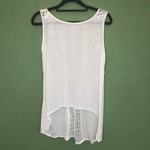 Gauzy Sheer Hi Lo Tank with Crochet Detailing S